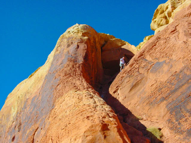 Climbing in Valley of Fire State Park