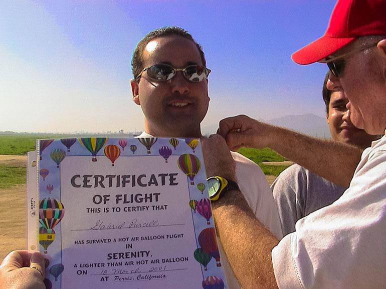 Serenity Balloon Team Certificate