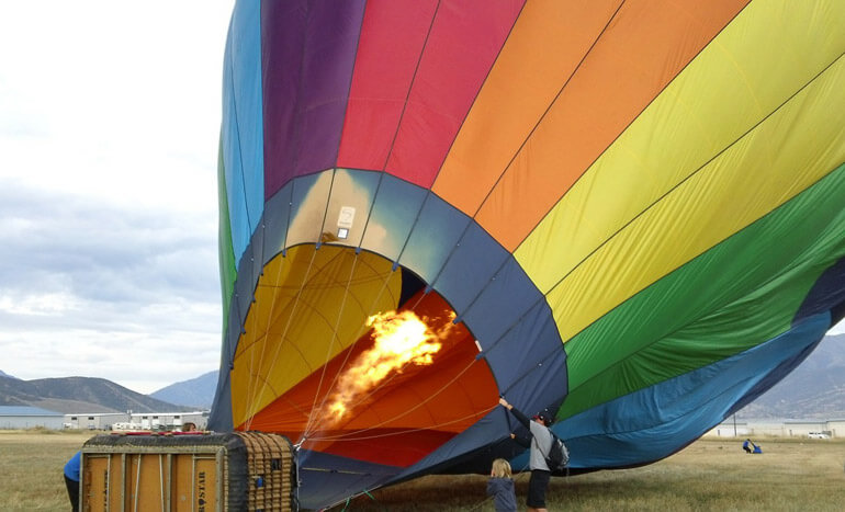 Filling up hot air balloon