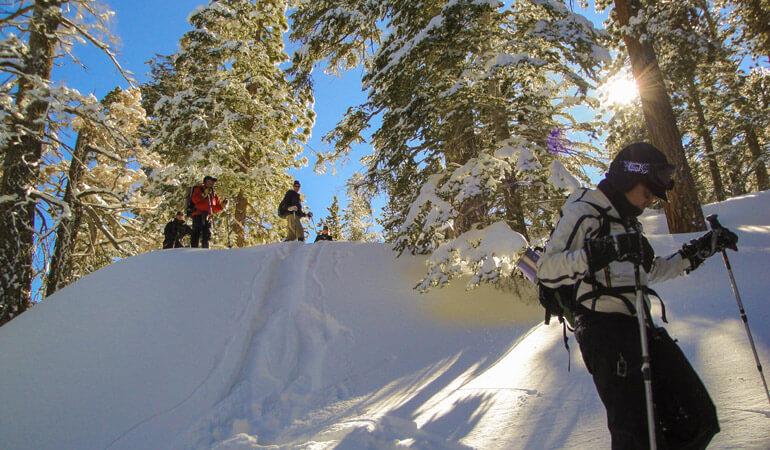 Descending hills, Snowshoeing