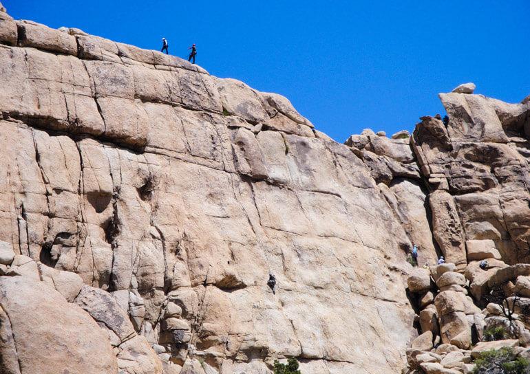 Rock climbing wall in Joshua Tree