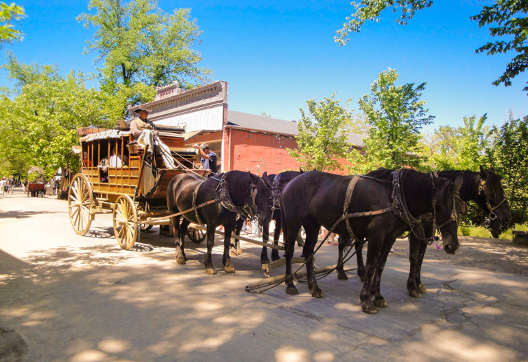 Stagecoach ride at Columbia State Historic Park