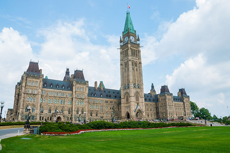 Parliament Hill in downtown Ottawa, Ontario