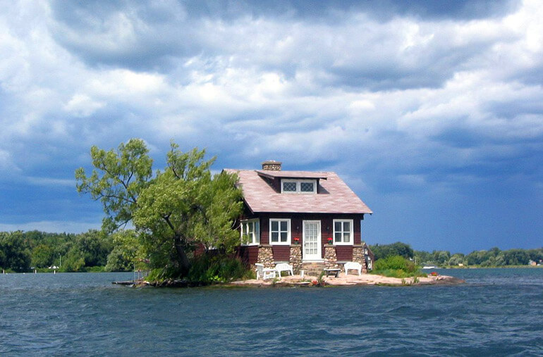 Just Room Enough Island along the St. Lawrence River